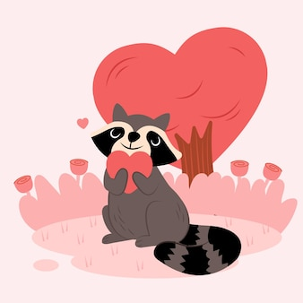Illustration of cute raccoon raising his hands with love