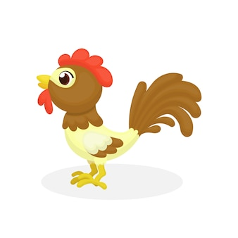 Illustration of cute rooster character with cartoon style