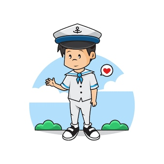 Illustration of cute sailor boy character..