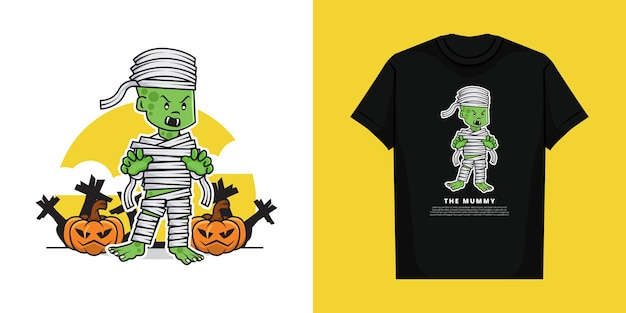 Illustration of cute scary mummy in the halloween day with t-shirt   design
