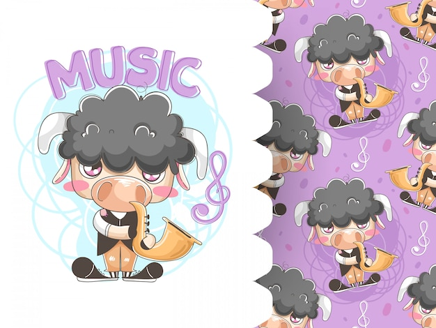 Illustration of cute sheep playing saxophone with pattern background