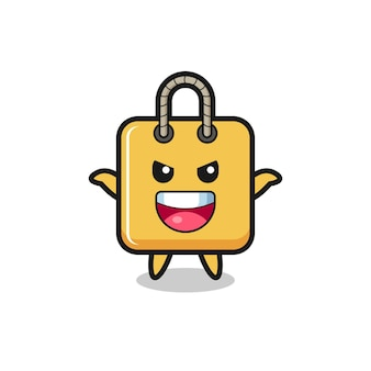 The illustration of cute shopping bag doing scare gesture , cute style design for t shirt, sticker, logo element