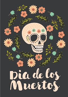 Illustration of cute skull decorated by flowers in vintage style