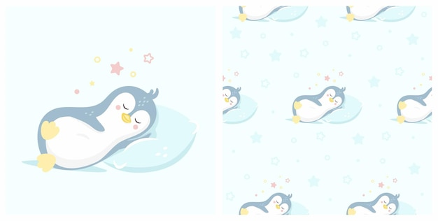 Illustration of cute sleeping penguin with seamless pattern. can be used for baby t-shirt print, fashion print design, kids wear, baby shower celebration greeting and invitation card.