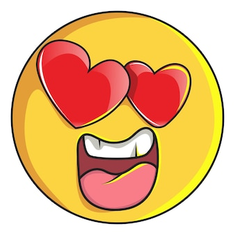 Illustration of cute smiley emoji is in love .