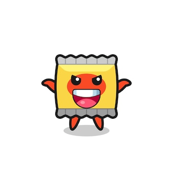 The illustration of cute snack doing scare gesture , cute style design for t shirt, sticker, logo element