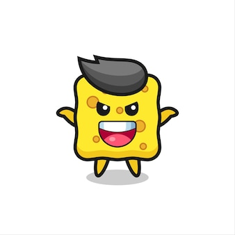 The illustration of cute sponge doing scare gesture , cute style design for t shirt, sticker, logo element