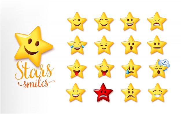 Illustration of a cute stars smiles. set of star facial expression emoji