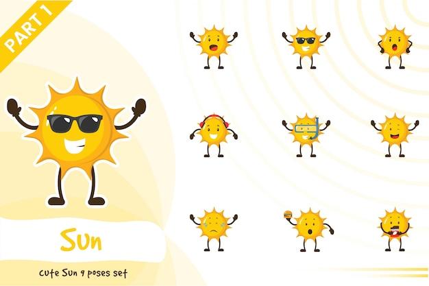 Illustration of cute sun set Premium Vector
