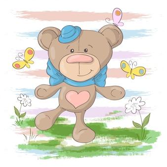 Illustration of cute teddy bear flowers and butterflies. cartoon style