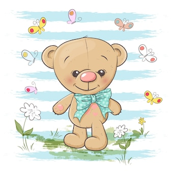Illustration of cute teddy bear flowers and butterflies. cartoon style