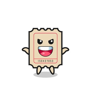 The illustration of cute ticket doing scare gesture , cute style design for t shirt, sticker, logo element