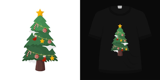 Иллюстрация милой елки рождество для дизайна футболки