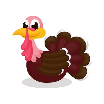 Illustration of cute turkey with cartoon style