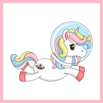 Illustration of a cute unicorn astronaut in bright colors.