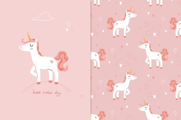 Illustration cute unicorn seamless pattern