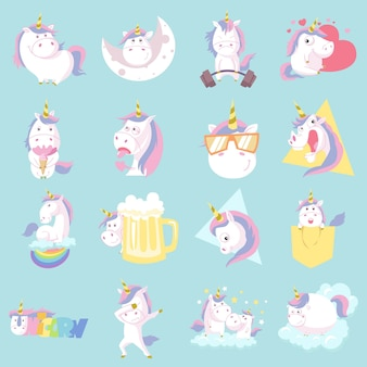 Illustration of cute unicorn set.