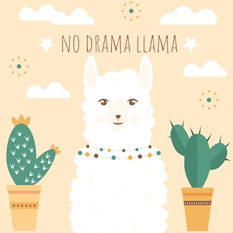 Illustration of a a cute white llama