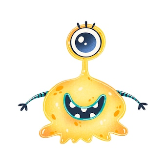 Illustration of a cute yellow cartoon alien. cute monster isolated on white  .