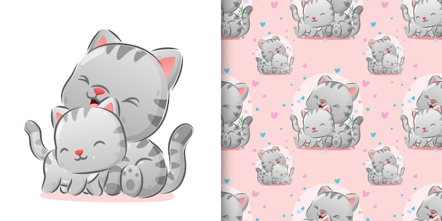 The illustration of the cutes kitten grooming their body with the happy expression