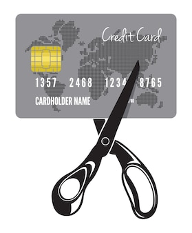 Illustration of the cutting of a credit card