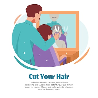 Illustration of cutting hair when finished hajj