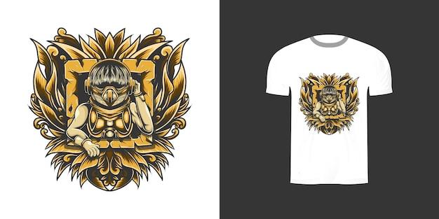 Иллюстрация киборга с гравировкой орнамента для дизайна футболки