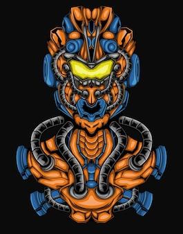 Illustration of cyborg robot design