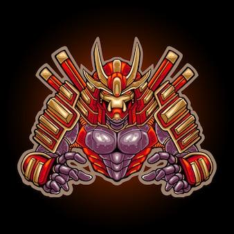 Illustration of cyborg ronin mascot character