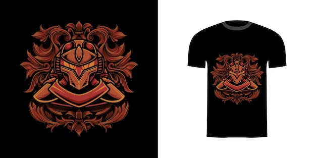 Illustration cyborg with engraving ornament for tshirt design