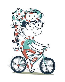 Illustration of cycling with cats in cartoon style