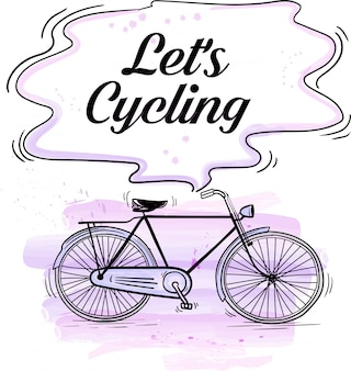 Illustration cycling with watercolor