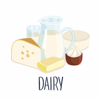 Illustration of dairy production and hand writing lettering. milk jug, butter, a glass of milk, sour cream, cottage cheese, cheese