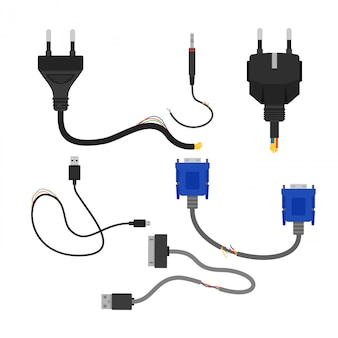 Illustration of damaged broken electric cables collection  on white background. cable cut, vga and usb
