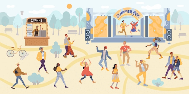 Illustration dancing people summer festival