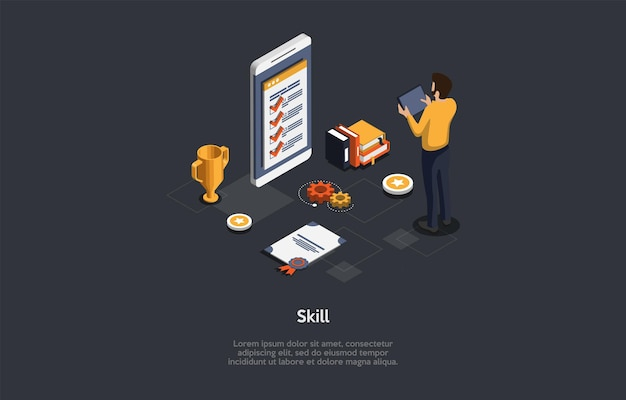 Illustration on dark background with writing and characters. 3d cartoon style composition, isometric vector design. professional skill, course certificate. special knowledge for education and work
