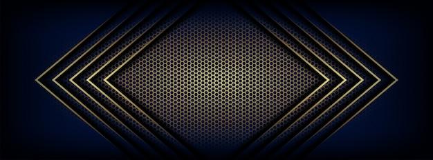 Illustration of dark blue with arrow golden light hexagon
