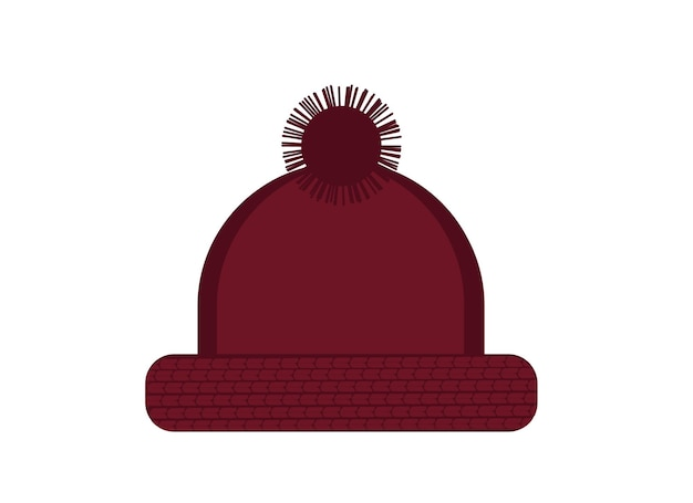 Illustration of dark red warm knitted hat with pom pom