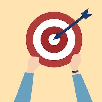 Illustration of dartboard with startup concept