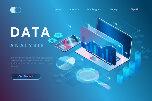 Illustration of data analysis with the concept of future technology in isometric 3d style