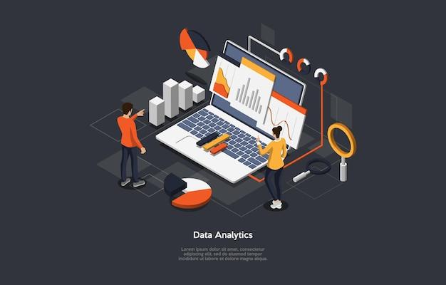 Illustration of data analytics, info checkup concept.