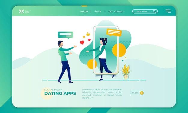 Illustration of a dating application on the landing page