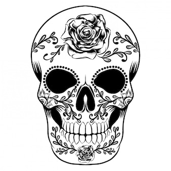 Illustration of a day of dead skull full with big roses
