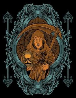Иллюстрация ангела смерти женщина с гравировкой стиля орнамента