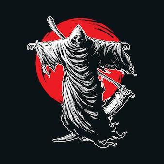 Illustration of death grim reaper