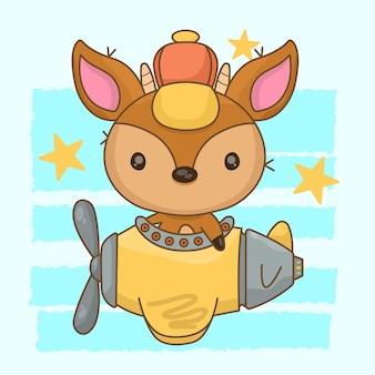 Illustration of deer driving airplane