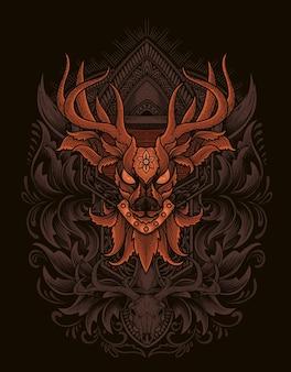 Illustration deer head engraving ornament style