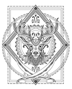 Illustration deer head mandala style with two sword