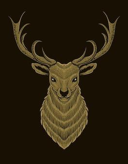 Иллюстрация голова оленя об черный фон