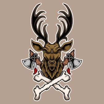 Illustration deer head with bone and axe.  design